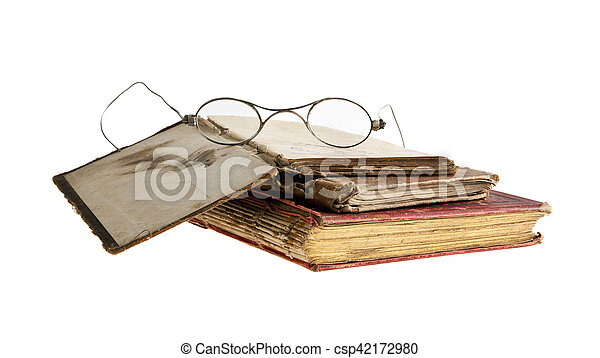 very old book and glasses - csp42172980