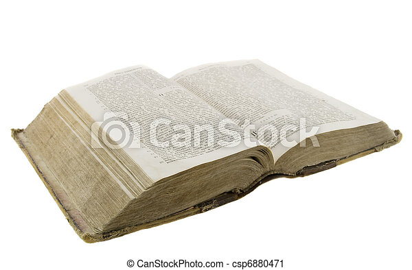 Very old vintage bible open for reading isolated over white background - csp6880471