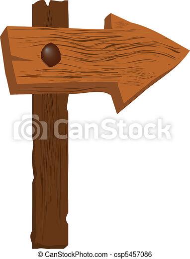 very rough wooden arrow sign vector