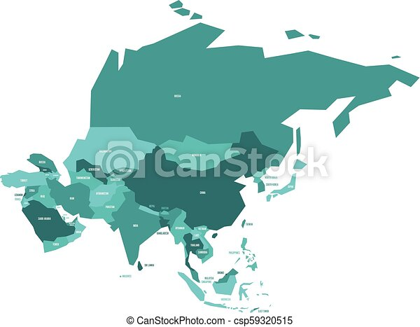 Very simplified vector infographical political map of Asia - csp59320515