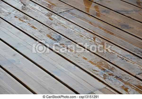 Very Wet Wood Plank - csp13151291