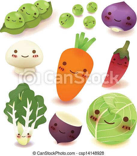 verzameling, fruit, groente - csp14148928