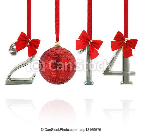 verzierungen, hängender , 2014, kalender, bänder, rotes  - csp13169575