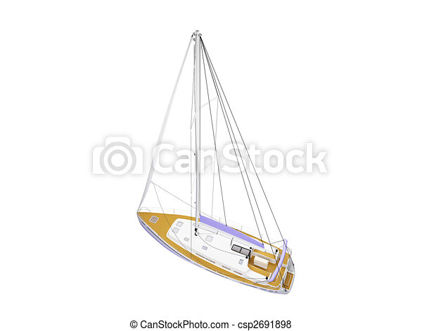 Vessel boat isolated back view - csp2691898