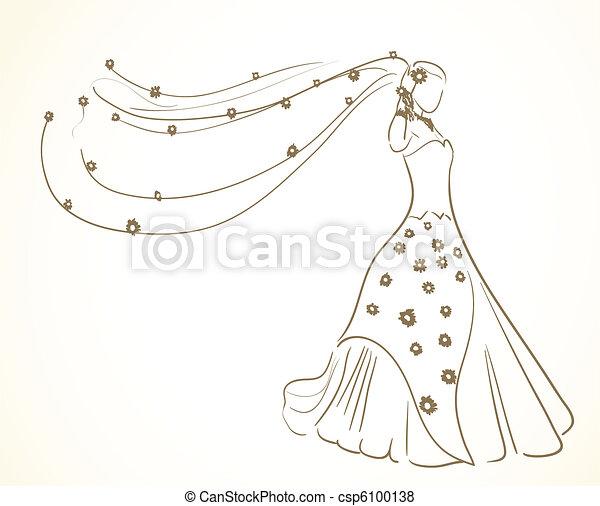vestido, flores, véu, casório - csp6100138