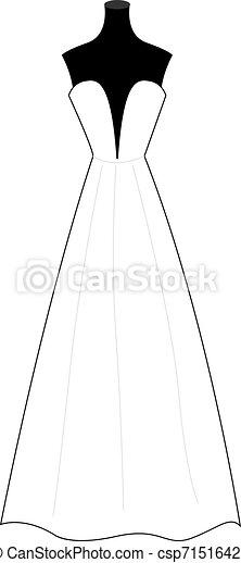 Vestido de boda, ilustración, vector de fondo blanco. - csp71516425