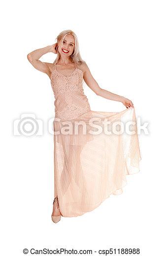 vestido, loura, cor-de-rosa, mulher bonita - csp51188988