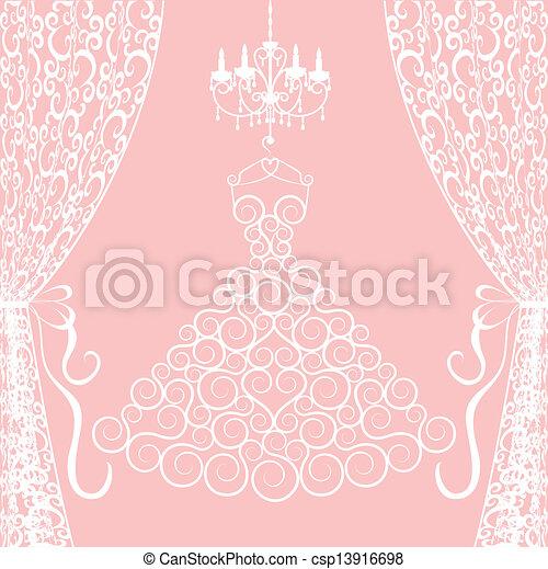 vestido, lustre, cortinas - csp13916698