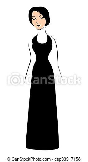 Vestido Mujer Negro Mujer él Ilustración Vector