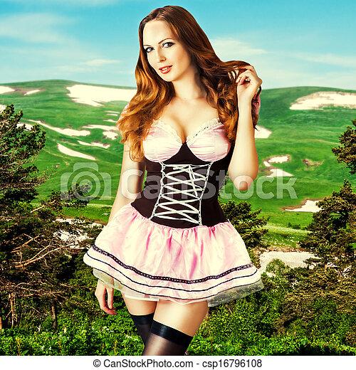 vestido, mulher, bonito, moda, excitado - csp16796108