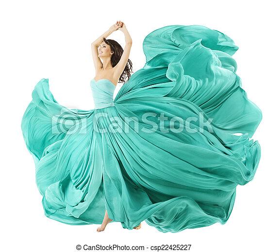 vestido, mulher, tecido, dançar, waving, pano, moda, vento - csp22425227