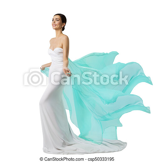 Vestido Mulher Tecido Vestido Voando Longo Waving Modelo Moda Seda Branca