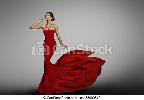 Vestido Mulher Tecido Vestido Trem Voando Longo Waving Pano Rabo Moda Vermelho Modelo Seda Vibrar Vento