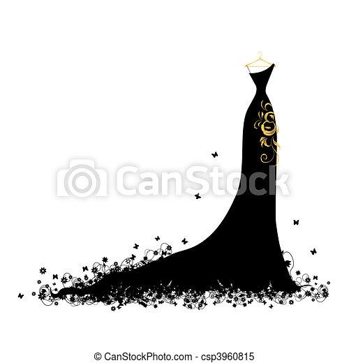 vestido, noite, pretas, cabides - csp3960815