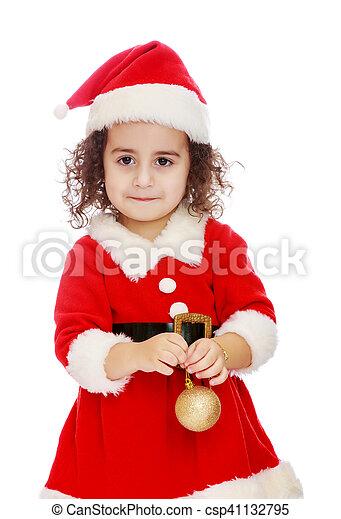 Una Niña Vestida Como Santa Claus Muy Lindo Con Pelo
