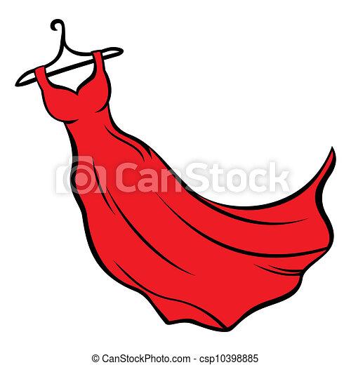 vestido, rojo - csp10398885