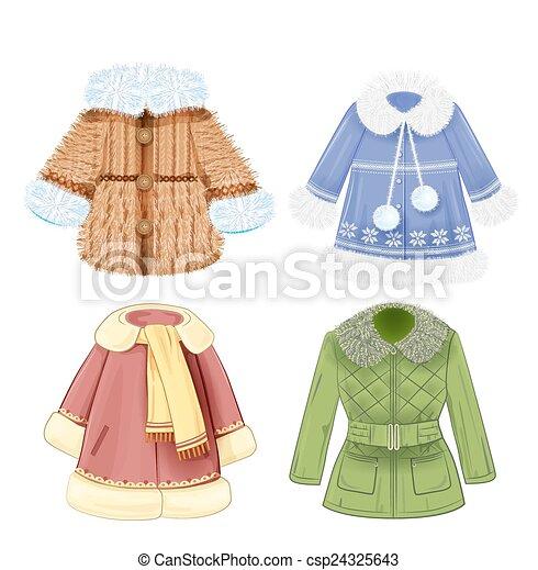 vestiti, set, inverno, bambini - csp24325643