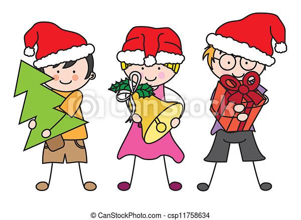 vestito, claus., bambini, santa - csp11758634