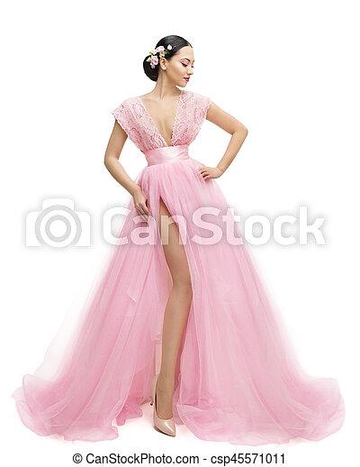 0086b37dd9 vestito colore rosa, moda, ragazza, sopra, vestiti, giovane, lungo, donna,  proposta, asiatico, fondo, bianco, modello