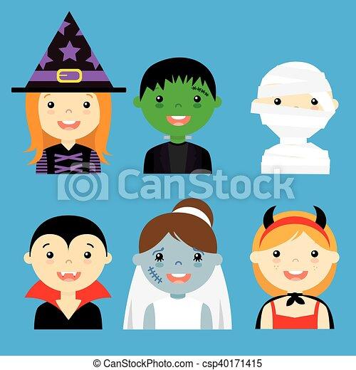 vestito, hallowe, avatar, bambini - csp40171415