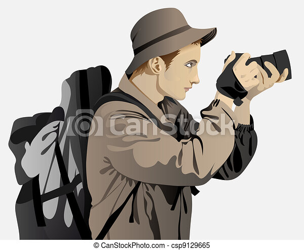 vestito, uomo, turista, giovane - csp9129665