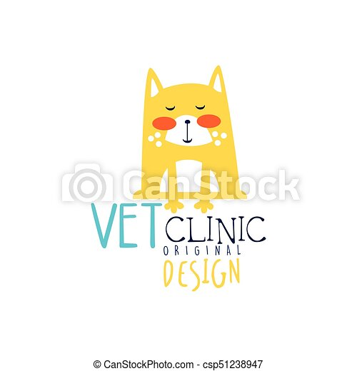 Vet clinic logo template original design, colorful badge with funny cat hand drawn vector Illustration - csp51238947