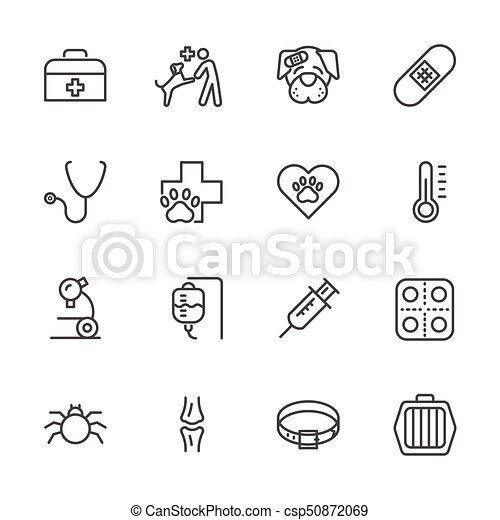 vet clinic, Simple thin line veterinary medicine icons set. Vector icon design - csp50872069