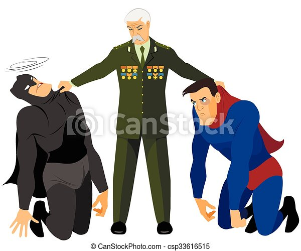 Veteran holds two superheroes - csp33616515