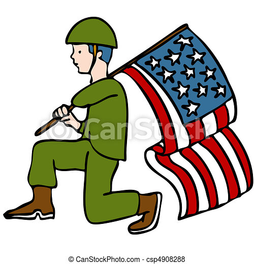 veteran soldier an image of a veteran soldier holding an american flag rh canstockphoto com clipart veterans day clipart veterans day