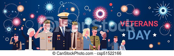 Veterans Day Celebration National American Holiday Banner With Group Of Retired Military People - csp51522166