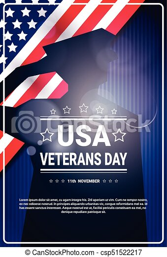 Veterans Day Celebration National American Holiday Banner With Soldier Silhouette Over Usa Flag Background - csp51522217