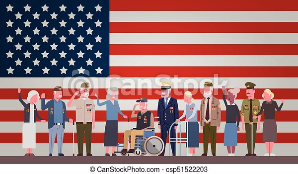 Veterans Day Celebration National American Holiday Banner With Group Of Retired Military People Over Usa Flag Background - csp51522203