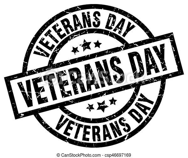 Veterans Day Round Grunge Black Stamp   Csp46697169