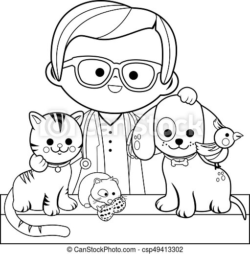 Veterinarian and pets. Vector black and white coloring page - csp49413302