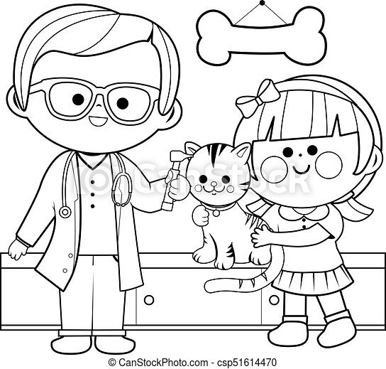 Veterinarian examining a cat. Vector black and white coloring page
