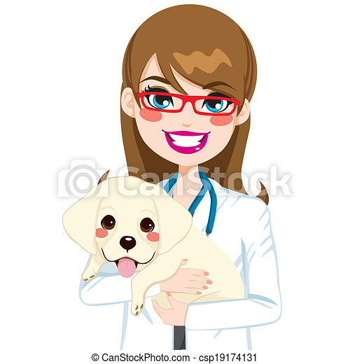 Veterinarian hugging puppy. Beautiful young female ...