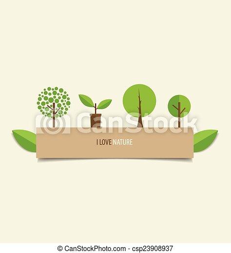 vetorial, árvore., desenho, illustration., cobrança - csp23908937
