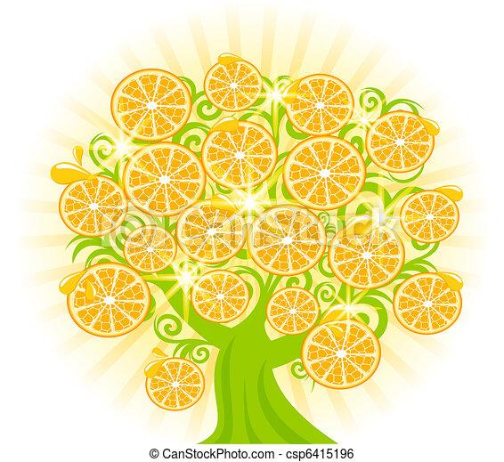 vetorial, árvore, oranges., ilustração, fatias - csp6415196