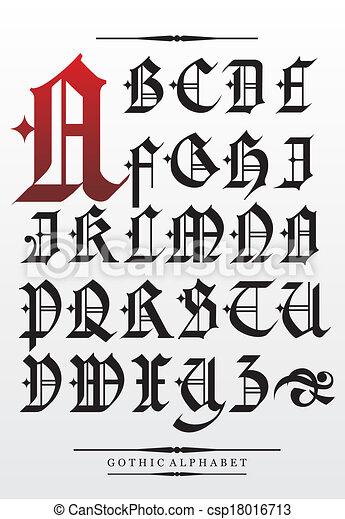 vetorial, alfabeto, fonte, gótico, tipo - csp18016713