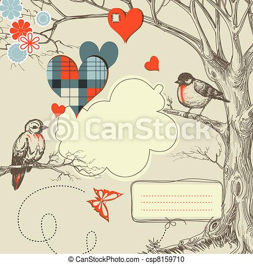vetorial, amor, ilustração, madeiras, pássaros, conversa - csp8159710