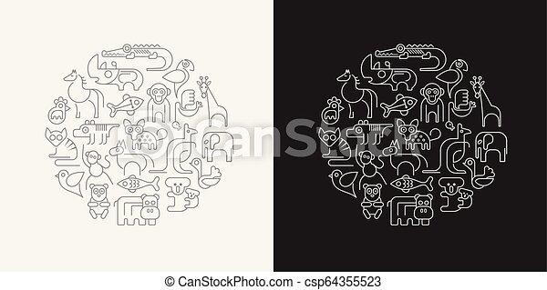 vetorial, animais, esboço, ilustração - csp64355523