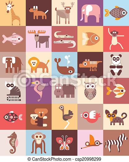 vetorial, animais, ilustração, jardim zoológico - csp20998299