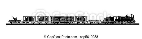 vetorial, antigas, trem, fundo, silueta, branca - csp5619358
