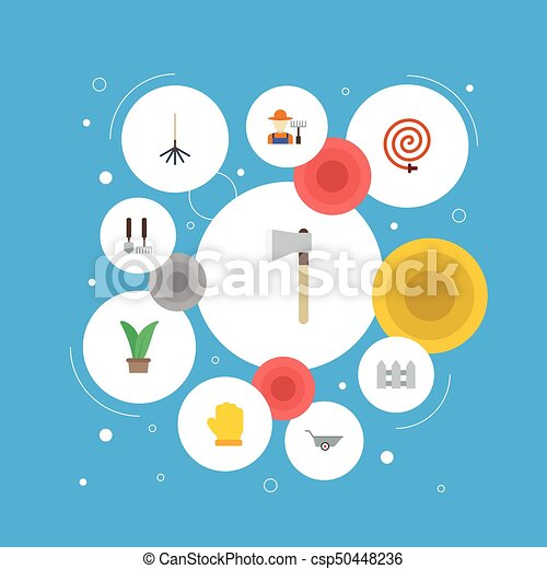 vetorial, apartamento, cerca, elements., ícones, hosepipe, inclui, símbolos, também, jogo, machado, objects., cerca, agricultura, outro, grower, fruiter - csp50448236