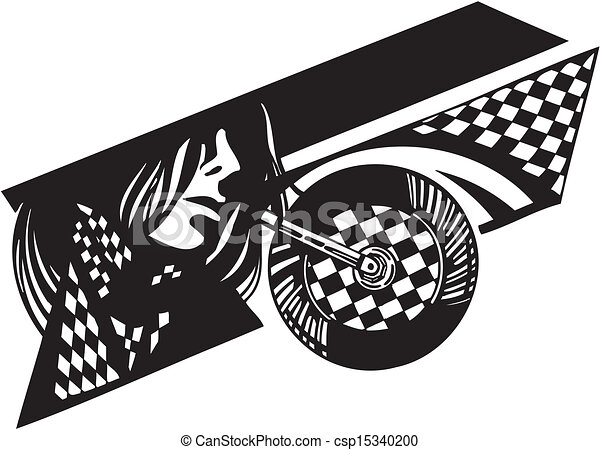 vetorial, bandeira, checkered, illustration., bike. - csp15340200