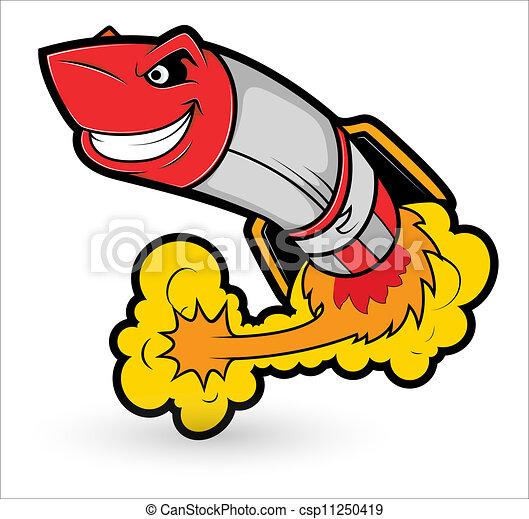 vetorial, caricatura, foguete, mascote - csp11250419