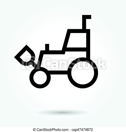 vetorial, carregador, estilo, forklift, fundo, illustration., ícone, logotipo, branca, telescópico, skid, desenho, apartamento - csp47474872
