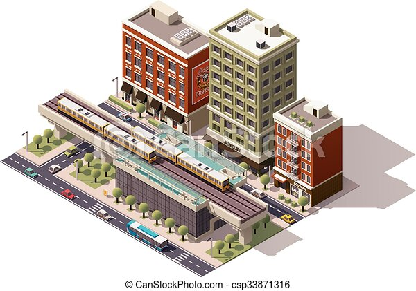vetorial, cidade, isometric, treine estação - csp33871316