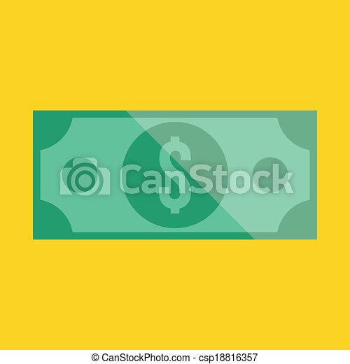 vetorial, conta dólar, ícone - csp18816357