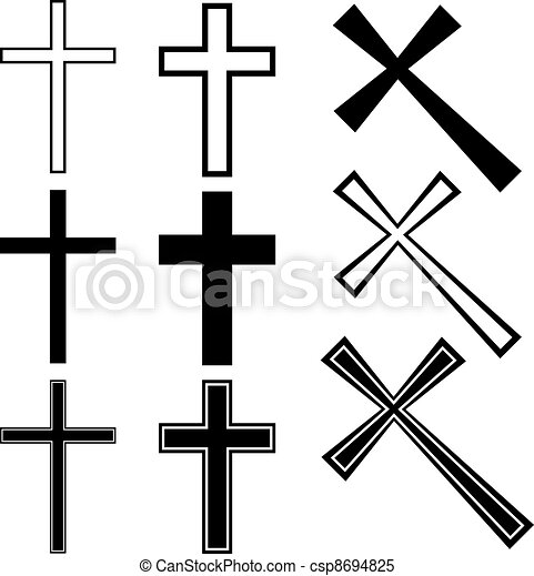 vetorial, cristão, cruzes - csp8694825